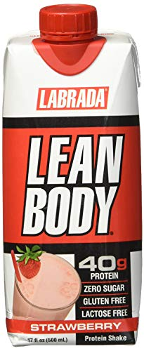 (LABRADA - Lean Body Ready to Drink Whey Protein Shake, Convenient On-The-Go Meal Replacement Shake for Men & Women, 40 Grams of Protein - Zero Sugar, Lactose & Gluten Free, Strawberry (Pack of 12))