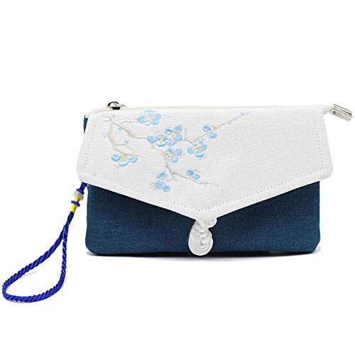 Embroidered Small Zip Wristlet Wallet Purse Vintage Cell Phone Bag Wallet Clutch Coin Pocket With Strap
