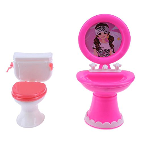 1Set Bathroom Furniture Doll Accessories Plastic Toilet for Barbie House Furniture Cute (Random)