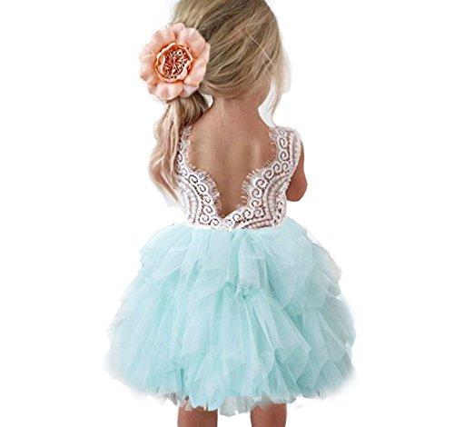 Topmaker Backless A-line Lace Back Flower Girl Dress (7-8Y, Mint) -