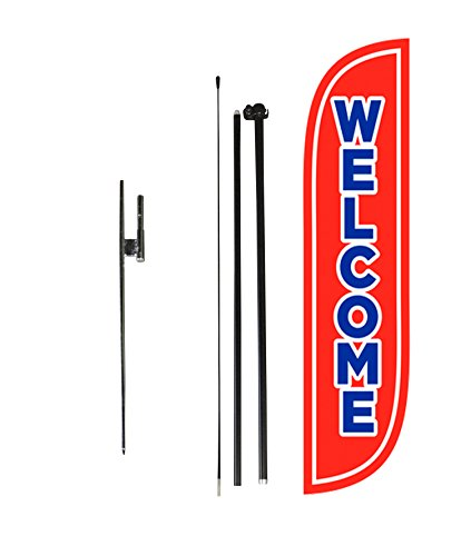 LookOurWay Welcome Red Feather Flag Complete Set with Poles & Ground Spike, 5'