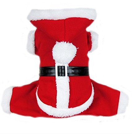 [PETLESO Puppy Dog Christmas Coat Doggie Santa Costume Outfit With a LED Flashing Dog Tag -XL] (Dog Outfits For Christmas)