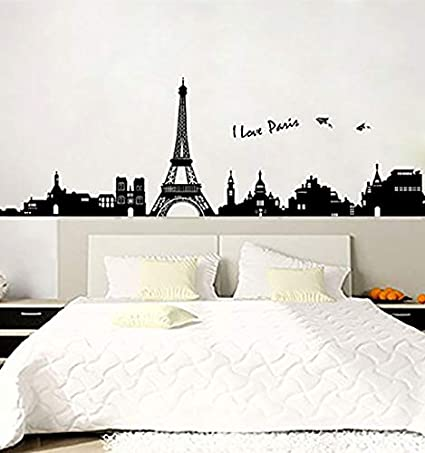 Paris Wall Decals - Eiffel Tower Wall Decor - Black and White Wall Stickers  - Peel and Stick