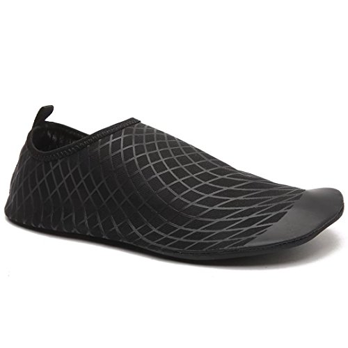 Männer Frauen Barfuß Aqua Socken Slip On Quick Dry Wasser Sport Haut Schuhe für Tauchen Schnorcheln Schwimmen Schwarz
