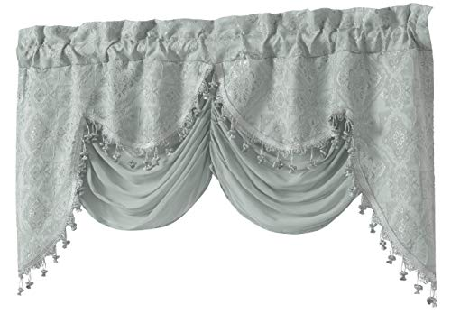 Window Treatments Swags (GoodGram Ultra Elegant Clipped Jacquard Georgette Fringed Window Valance an Attached Sheer Swag Assorted Colors (Blue))