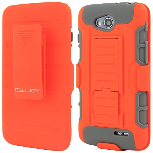 L90 Case, CellJoy® [Future Armor] LG L90 (WILL NOT FIT L70) Case Hybrid Ultra Fit Dual Protection Holster **Kickstand** [Belt Clip Holster Combo] - Rugged Case for LG L90 (Orange - For L90 Lg Case A