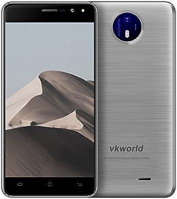 VKworld F2 Smartphone Barato 5.0 Pulgadas IPS Android 6.0 MT6580A Quad Core 2 GB RAM 16G ROM 8MP 2200mAh Smart Gesto 3G WCDMA teléfono móvil (Plata): Amazon.es: Electrónica