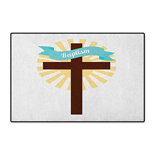 Religious,Door Mats for Inside,Sign on Ribbon Cross Ritual Newborn Religious Event at Building Art,3D Digital Printing Mat,Brown Pale Blue Mustard,Size,20