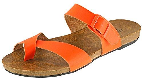 Cambridge Velg Et Dame Strappy Krysse Over Spenne Tå Ring Flat Glide Sandal Orange