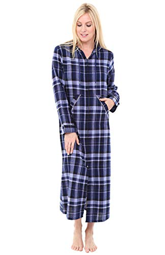 Alexander Del Rossa Womens Hooded Flannel Robe with Zipper, Lightweight Cotton House Coat, Medium Blue Plaid (A0492Q18MD) (Flannel Robe Women Zipper)
