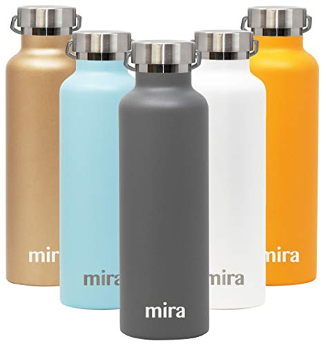 MIRA Alpine Stainless Steel Vacuum Insulated Water Bottle with 2 Lids, Durable Powder Coated Thermos | 25 oz (750 ml) | -