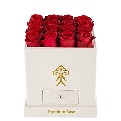 Amazon Com Premium Roses Real Roses That Last A Year Fresh Flowers Roses In A Box White Box Medium Grocery Gourmet Food