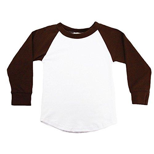 (Dress Up Dreams Boutique Unisex Little Kids Brown Two Tone Long Sleeve Raglan Baseball T-Shirt 2T)