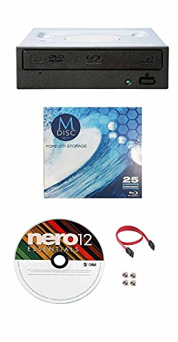 Pioneer 16x BDR-209DBK Internal Blu-Ray Burner Bundle with 1 Pack M-DISC BD, Nero Burning Software and Cable Accessories (SATA Interface) by Pioneer