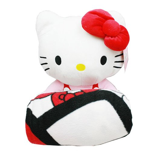 (Sanrio Hello Kitty Large Plush and Fleece Throw Bed Blanket 2 pieces Set)