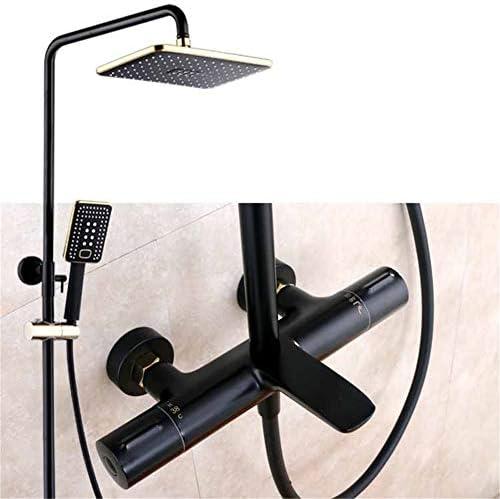 シャワーシステムシャワーセットレインシャワーヘッド調整可能スライダ3機能マット面インテリジェント一定温度ブラックシャワーセット銅ブースターシャワーハンドシャワー