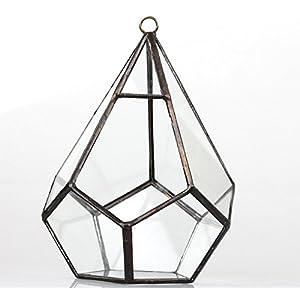 NCYP 5.3 inches Hanging Glass Terrarium Modern Artistic Wall Tears Shape Diamond Geometric Polyhedron Air Plant Holder Desk Planter DIY Centerpiece Vase Succulent Flower Pot (Plants not Included) 4