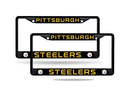 Rico Pittsburgh Steelers NFL Black Metal (2) License Plate Frame Set