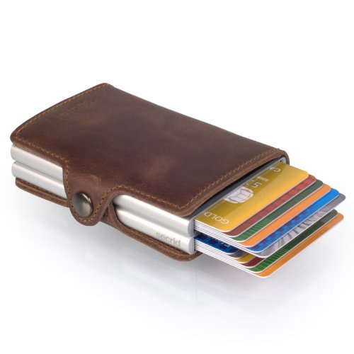Secrid Twin wallet leather brown, Credit Card Wallet / with RFID protection, with one click all cards slide out gradually. Up to 18 cards