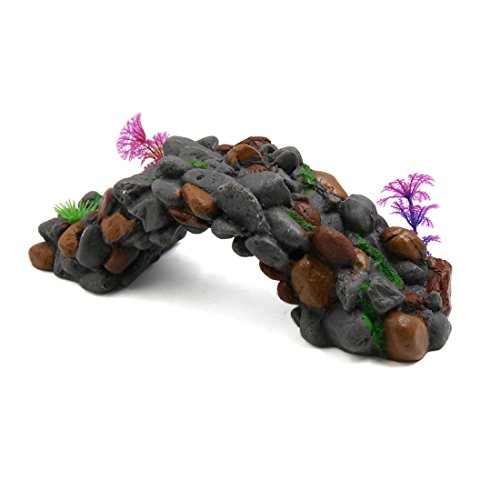 uxcell Resin Stone Bridge Fish Tank Aquarium Landscape Decor Underwater Ornament Gray