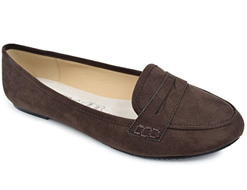 Greatonu Women's Pointed Toe Brown Faux Suede Ballet Flat Loafer Shoes(8 US)