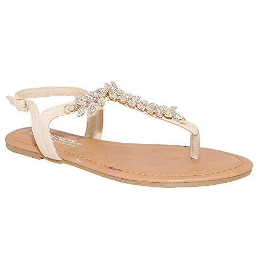 Sandals Big Buckle - TRENDSup Collection Womens T-Strap Buckle Flats Sandals (5, Blush)
