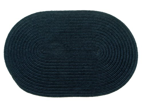 Solid polypropylene Oval Braided Rug, 2 by 3-feet, Navy