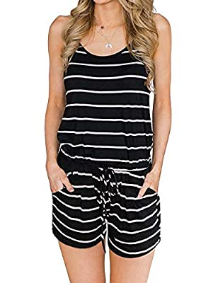 ANRABESS Women Summer Loose Solid Sleeveless Jumpsuit Rompers Spaghetti Strap Adjustable Waist Short Pant Rompers
