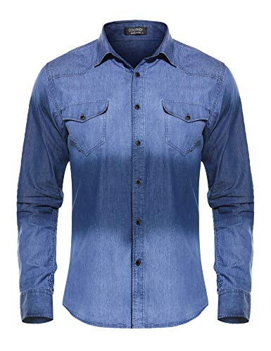 COOFANDY Men's Western Button Down Shirt Casual Long Sleeve Regular Fit Embroidered Zipper Pockets Denim Shirt (Blue1, Small)