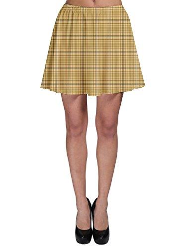 CowCow Womens Yellow Tartan Pattern Skater Skirt, Yellow Tartan - XL by CowCow