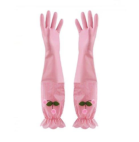 再利用可能な洗濯クリーニング手袋、シンディ&からLonge袖防水Houseworking手袋は、1ペア、ピンク、Lサイズ、20