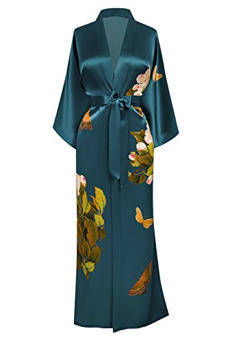 Robe Silk Butterfly - KIM+ONO Washable Silk Kimono Robe Long - Floral Print, Peony & Butterfly- Vintage Teal