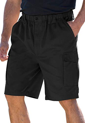Boulder Creek 9 Renegade Cargo Shorts With Full Elastic Waist,Black,Big - 6XL