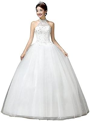 Clover Bridal 2017 Vintage Halter Appliqued Beaded Lace Wedding Dress for Bride Ivory Under 100