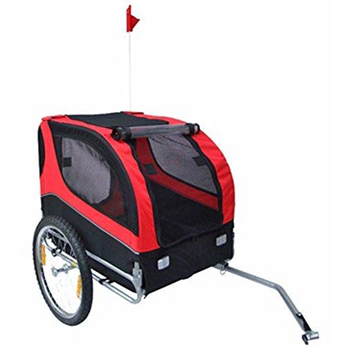 Hundeanhänger Fahrrad Hundefahrradanhänger rot-schwarz mit Sicherheits-Drehkupplung