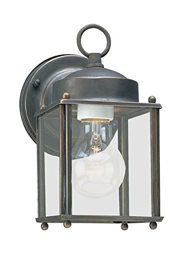 (Sea Gull Lighting 8592-71 New Castle One-Light Outdoor Wall Lantern with Clear Glass Panels, Antique Bronze)
