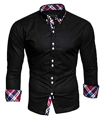 OSYS THX Men's Dress Shirts Solid Slim Fit Long Sleeves Casual Button Down Shirts