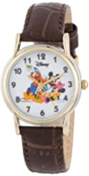 Disney Women's D078S007 Mickey Mouse and Friends Brown Leather Strap Watch