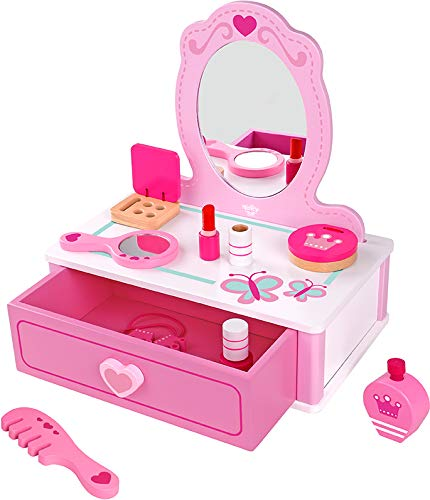 Wooden Dresser Vanity Beauty Set, Makeup Accessories with Mirror, Salon Fashion Cosmetic Pretend 15 Piece / pcs Play Toy for Children by CharaHome (Image #7)