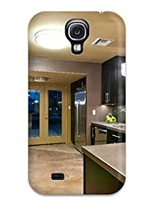 New Arrival Cover Case With Nice Design For Galaxy S4- Brown And Gray Kitchen With Pendant Lights And Blue Glass Doors