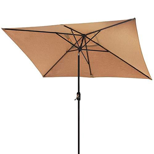 EliteShade Sunbrella 10×6.5 Ft Rectangular Market Umbrella Patio Outdoor Table Umbrella with Ventilation and 10 Years Non-Fading Guarantee (Sunbrella Heather Beige)