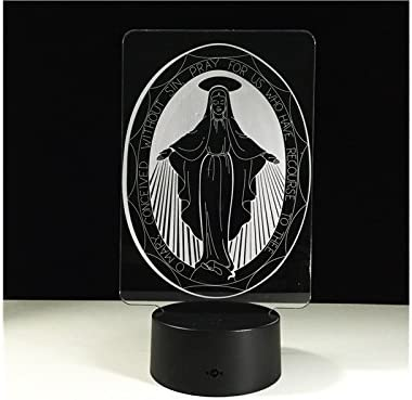 Fashionable 3D Virgin Mary LED Light Figure Illusion 7 Color Changing Smart Touch USB Table Desk Lamps for Night