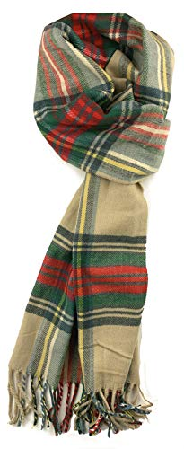 Plum Feathers Super Soft Luxurious Cashmere Feel Winter Scarf (Tan Scottish Plaid)