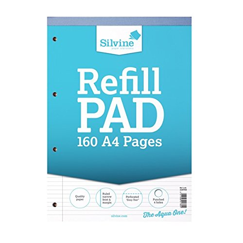 Silvine A4 Refill Pad Narrow Feint & Margin (6 Pack of 80 Sheets) (One Size) (Narrow Lines) by Silvine