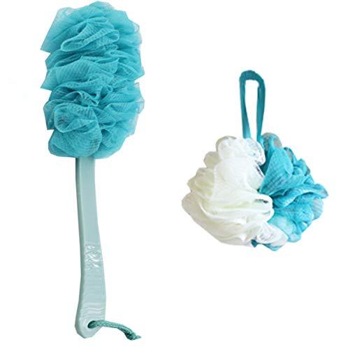 Liuer 43CM körperbürste,Rückenbürste Badebürste,Massagebürste mit langem Griff,mit Körper Badeschwamm Schwamm Duschschwämm Perfekt für die Verbesserung Blutzirkulation/Eliminating Müdigkeit (Blau)