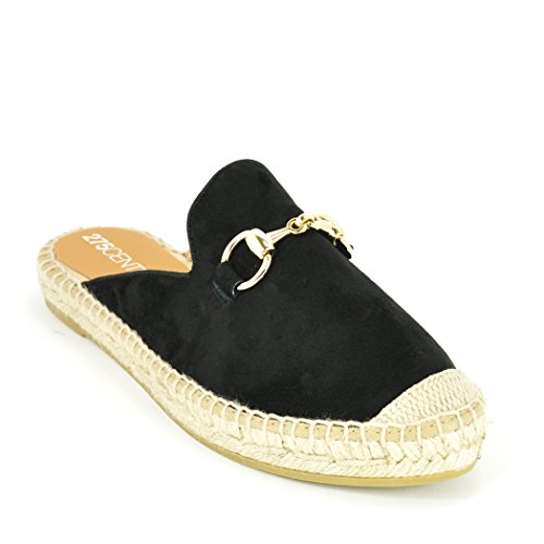 275 Central 7009 - Suede Espadrille Mule Black