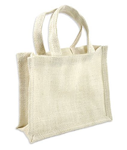 Small 100% Natural Jute Burlap Gift Bags w/ Handles for Favors, Decorations (1, White)