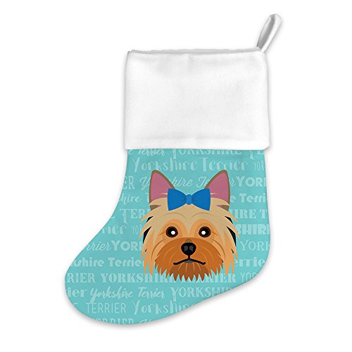 Mystic Sloth Adorable Breed Specific Christmas Holiday Stocking (Yorkshire Terrier Blue Bow) (Terrier Yorkshire Stocking)