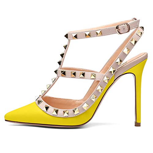 Chris-T Women's Sexy Pointed Closed Toe Rivets Studded Ankle T-Strap 4 Inches Stiletto Heel Pumps Yellow Size 9 US