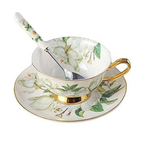 Magnolia Coffee Cup Set Porcelain Tea Cup Ceramic Mug Cup/Saucer/Spoon 6.8 OZ